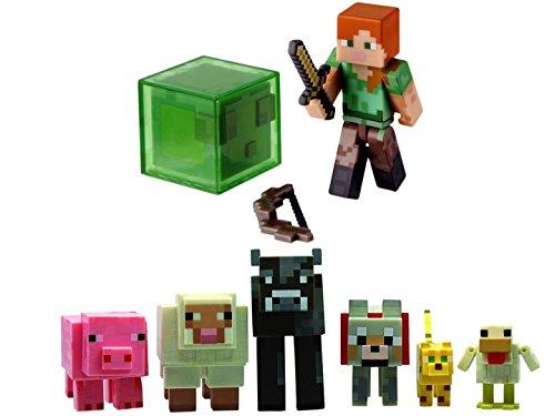 Minecraft Girl Alex and Animal Mob figure bundle set