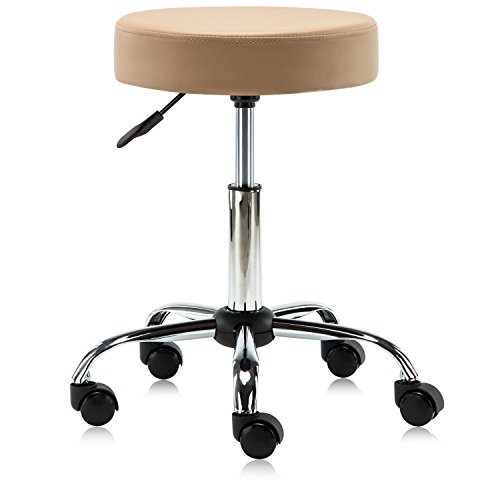(DR.LOMILOMI Basic Hydraulic Rolling Swivel Clinic Massage Spa Salon Stool Chair 508 (Tan))