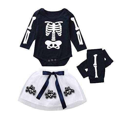 Baby Infant Girls Appliques Skull Skirt Leggings Costume Romper Dress Halloween Outfits Set (6-12 Months, Navy)]()