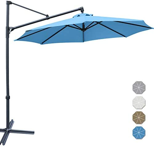 ABCCANOPY Patio Umbrellas Offset Hanging Umbrellas Cantilever Umbrella 10 FT Outdoor Market Umbrella with Easy Tilt,Crank Cross Base for Beach, Garden, Deck and Pool, 12 Colors, Turquoise