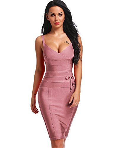 Hego Women's Bandage Dress Spaghetti Strap New Sexy Party Dresses With Belt H4369-1 (L, Coffee)