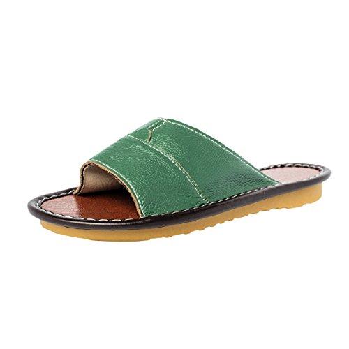 Haisum Tb006-w - Zapatillas de estar por casa de Piel Sintética para mujer Verde