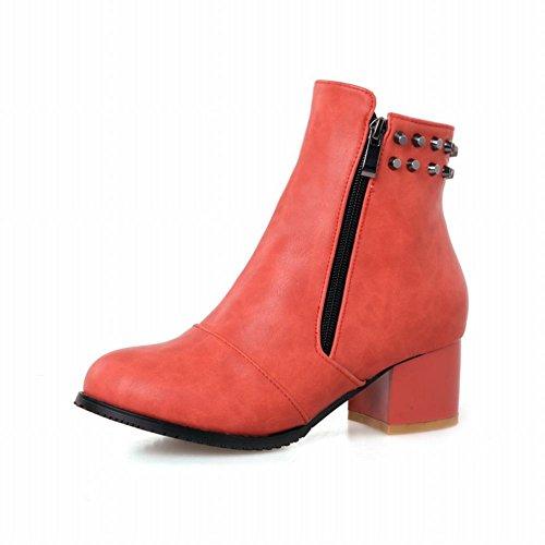 Latasa Moda Donna Rivetti Borchiati Tacco Medio-alti Stivali Casual Alla Caviglia Rosso