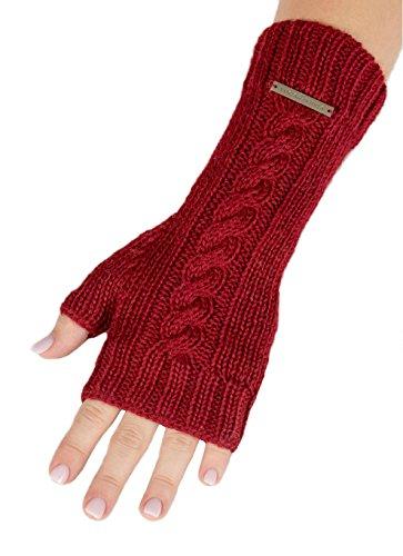 Luna & terra-messina冬手袋ハンドメイドニット100 %ベビーアルパカインペリアルレッド