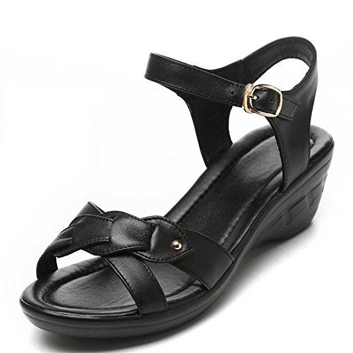 Sandalias Zapatos Planos Pendiente Con Fondo Blando Negro
