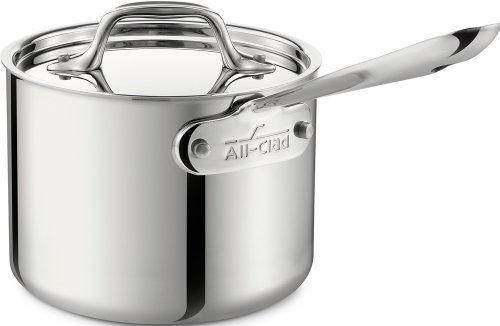 (All-Clad 4201.5 Stainless Steel Tri-Ply Bonded Dishwasher Safe Sauce Pan with Lid Cookware, 1.5-Quart, Silver)