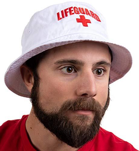 Lifeguard Bucket Hat | Professional Guard Red Sun Cap Men Women Costume Uniform - White ()