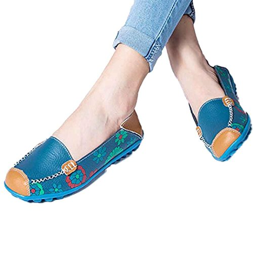 (Todaies-Women Sandals Hot Sale!Women Summer Spring Shoes,Todaies New Women Leather Shoes Loafers Soft Leisure Flats Female Casual Shoes (US 8, Blue))