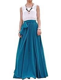 Women's Beatiful Bow Tie Summer Beach Chiffon High Waist Maxi Skirt