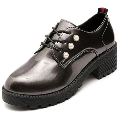 Primavera Studente in Color Basse retrò Spesso Scarpe da Tacco Britannico Gun Pelle Femminile Scarpe Fondo Ruvido Verniciata Shoes Single xwqZAtYx