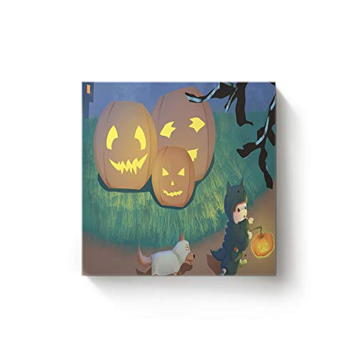 EZON-CH Square Canvas Wall Art Oil Painting Christmas Office Home Decor,Cute Child Holding Pumpkins Trick or Threat Dog Halloween Design Artworks,Stretched by Wooden Frame,Ready to Hang,28 x 28 Inch -