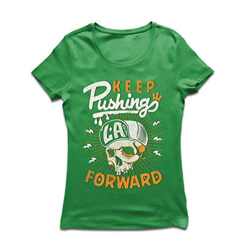lepni.me Women's T-Shirt Keep Pushing Forward - Dope Hip Hop Rap Swag (Large Green Multi ()