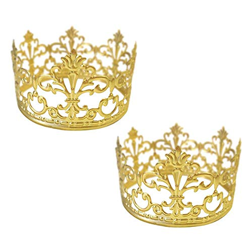 BESTONZON 2pcs Mini Cake Crown Topper/Princess Crown,Wedding Birthday Party Decoration(Gold) (Gold Decoration Crown)