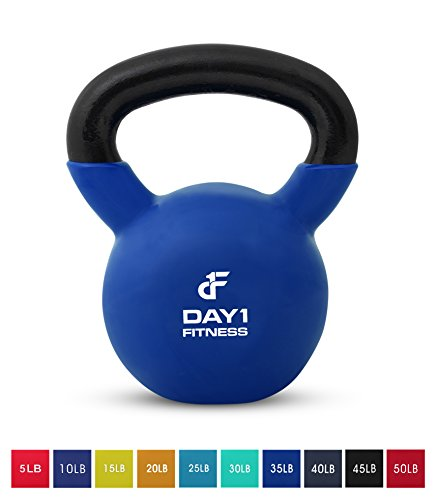 Day 1 Fitness Kettlebell Weights Vinyl Coated Iron 35 Pounds - Coated for Floor and Equipment Protection, Noise Reduction - Free Weights for Ballistic, Core, Weight Training