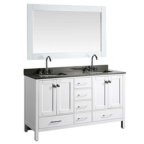 "LC61AWG Reno 61"" Double Sink Gray Quartz Vanity Top, White Basin and Mirror, w"
