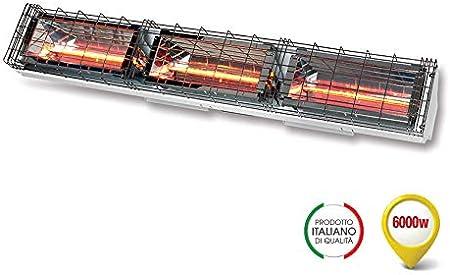 Grado Estufa lámpara rayos infrarrojos, IRK onda corta, difusión simétrica calefactora, potencia 6000 W, IP24, 230 V, GH-6000 WH