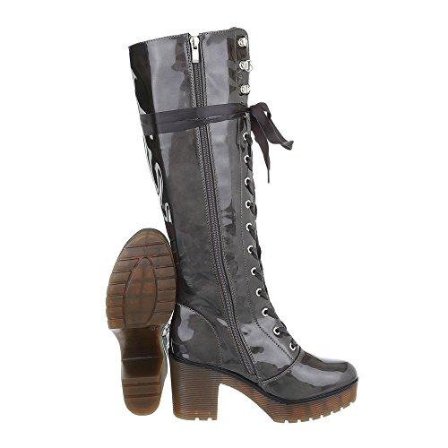 Zapatos para mujer Botas Tacón ancho Botas con cordones Ital-Design Gris