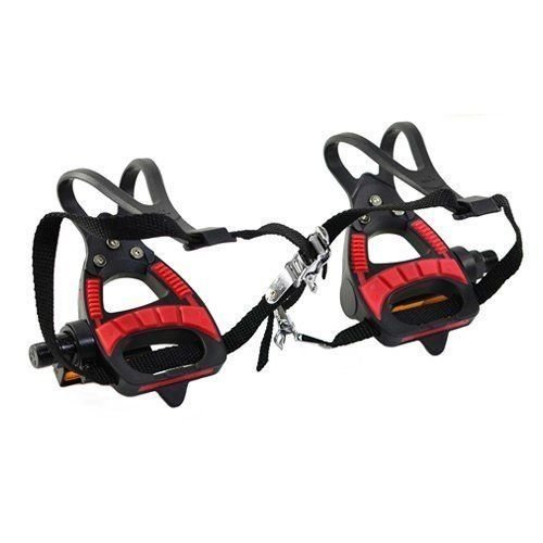 (VP VP-399TM Road Bike Pedals with Integrated Toe Clips Cages Straps, Red x Black #ST1120-17)