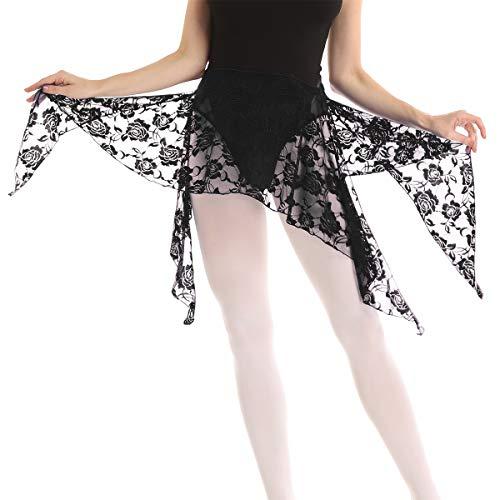 Freebily Women Floral Lace Skirts Practice Belly Dance Clothing Hip Scarf Wrap Skirt Side Slit Dancewear Black One Size