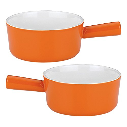 Mario Batali by Dansk Stoneware Soup Bowl, 16-Ounce, Persimmon, Set of 2 ()