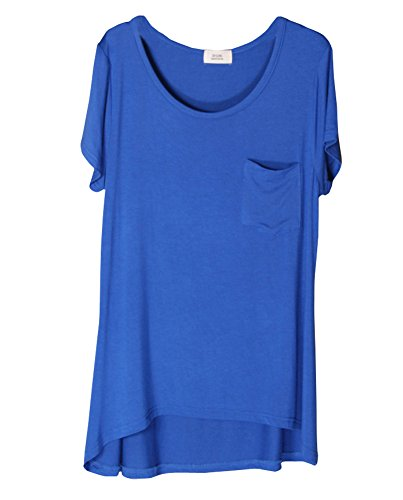 Scoop Pocket Tee (Shawhuaa Womens Modal Loose Short Sleeve Scoop Neck Pocket T-shirt Blouse Royal)