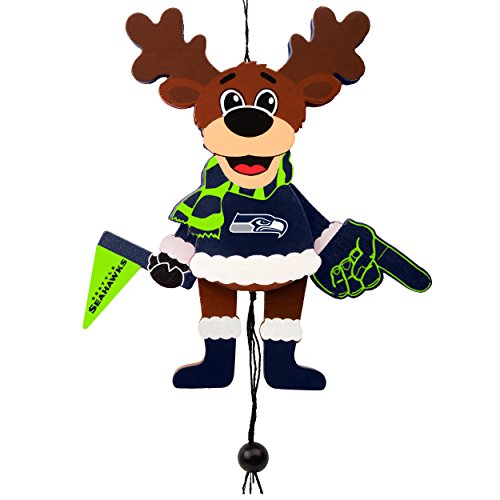 Seattle Seahawks Official NFL Holiday Christmas Ornament Cheering Reindeer by Forever Collectibles - Nfl Holiday Ornaments