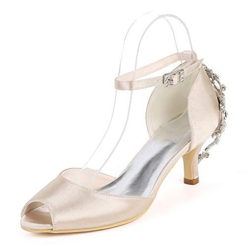 yc Da Donna Alti Fibbia Champagne Tacchi Avorio L Grande tacco Prom Sposa Aperta Punta Scarpe 6cm 4qxtw