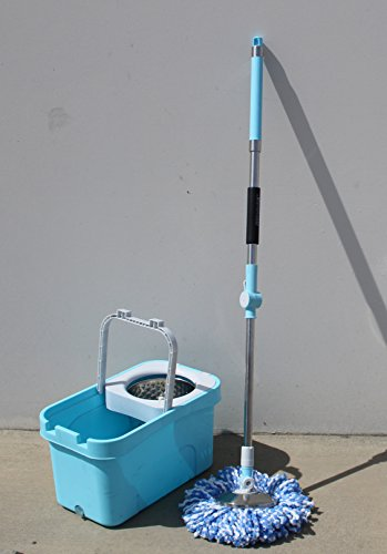 asy Wring Spin Wet Dry 360 Rotating Push and Pull Clean with 2 Microfiber Mop Extended Handle + Handle and Drainage Hole LS02341 ()