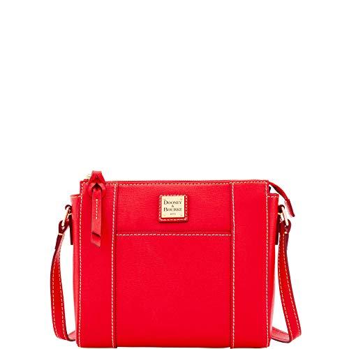 Dooney & Bourke Saffiano Leather Lexington Crossbody Bag Purse Handbag (Red)