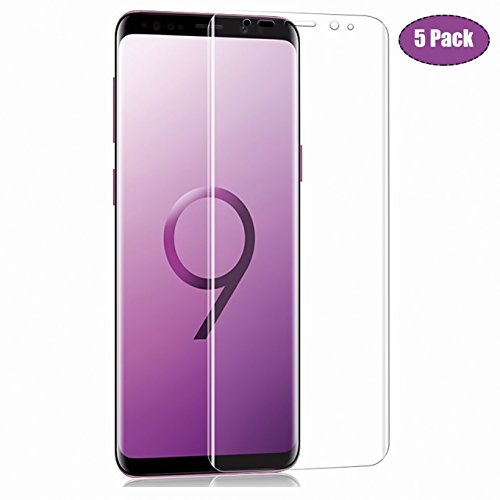 [5-Pack] Galaxy S9 Screen Protector,CaseHQ 3D Screen Full Coverage HD Clear [Anti-fingerprint] [High Definition] [Ultra Clear] Anti-Bubble Film Screen Protector for Galaxy S9,not Glass (Laser Cutting Michigan)