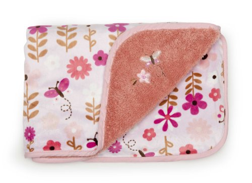 Kids Line Velour Blanket with Sherpa Back, Butterfly