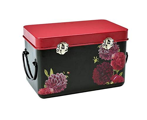 (Burgon & Ball Seed Packet Storage Tin in RHS British Bloom Design | Seed Box with Peonies & Dahlias)