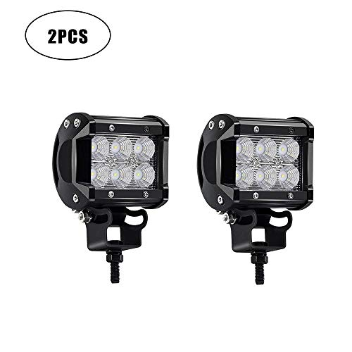Turbo Sii Led Light Bar 2pcs 18w 4 Flood Led Work Light Driving Fog Light Off Road Lights Driving Lights For Boat Truck Tractor Suv Jeep Lamp 1 Years Warranty