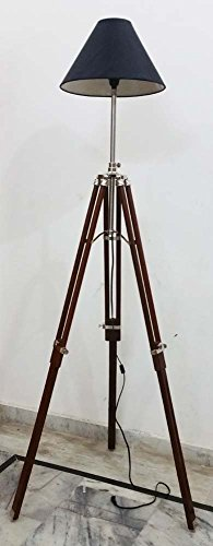 - Vintage Armour Store Modern Designer Stunning Wooden Tripod Stand Collectiable Floor Lamp Base