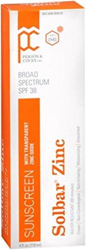 Solbar Zinc Sun Protection Cream SPF 38 4 oz (Pack of 4)
