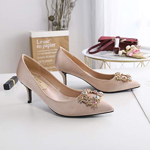 HOESCZS High Heels Frühling Und Sommer Mode Einfache Einfache Einfache Mode Einzelne Schuhe Kristall Diamant Schnalle Spitz Stiletto Schuhe Flacher Mund Schuhe Hochzeitsschuhe B07QK8YWZY Sport- & Outdoorschuhe Vielfalt f320af