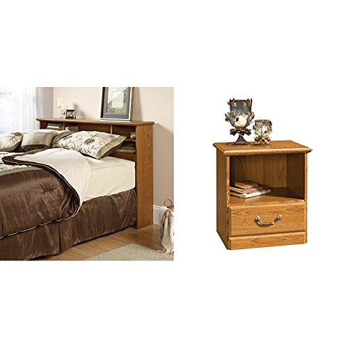 Sauder Orchard Hills Bookcase Headboard, Full/Queen, Carolina Oak Finish + Sauder Orchard Hills Night Stand, Carolina Oak Finish_Bundle