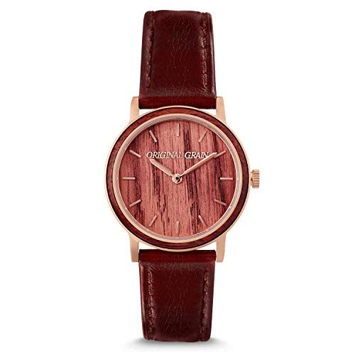 Original Grain Women's Luxury Wood Watch | Avalon Collection 34MM | Analog Watch | Wood & Stainless Steel Watch | Japanese Quartz Movement | Vino Wine Soaked Oak Wood