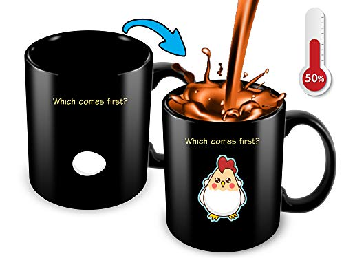 Egg Cup Gift - Heat Sensitive Color Changing Coffee Mug | Funny Coffee Cup | Which Comes First The Chicken Or The Egg | Funny Gift Idea