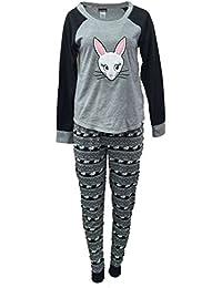 Womens Gray Fleece Bunny Rabbit Pajamas Sleep Set