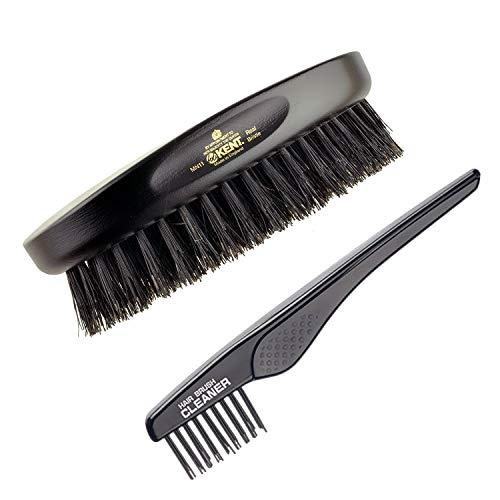 Kent Finest Men's MN11 Classic Oval Ebony Wood Black Bristle Hair Brush + Kent LPC2 Hair Brush Cleaner - Best Hair Care Kit for Men, 360 Wave Brush, Encourages Hair Growth