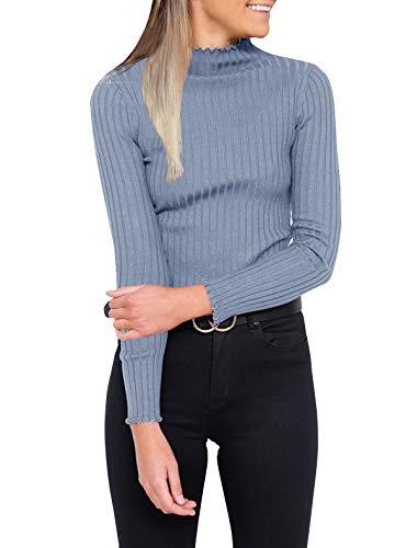 - PRETTODAY Women's Long Sleeve Ribbing Tops Casual Basic Turtleneck Shirts Blue