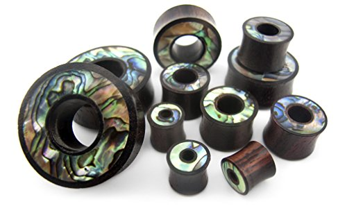 Abalone Shell Inlay Plug - Pair of 1 & 1/4