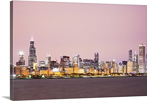 Canvas On Demand Premium Thick-Wrap Canvas Wall Art Print entitled Downtown City Skyline, Chicago, Illinois, USA - Tower Plaza Water Chicago