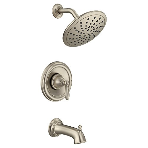 Moen T2253EPBN Brantford Posi-Temp Tub and Shower Trim Kit, Valve Required, including 8-Inch Eco-Performance Rainshower, Brushed Nickel (Brantford Tub Faucet)