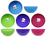 Set of 8 Click Home Design Large Serving and Mixing Bowls (4 different colors)