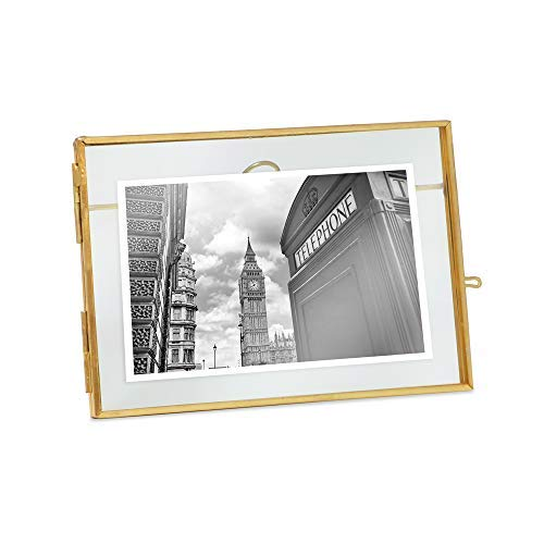 Isaac Jacobs 4x6, Antique Gold, Vintage Style Brass and Glass, Metal Floating Desk Photo Frame (Horizontal), with Locket Closure for Pictures, Art, More ()