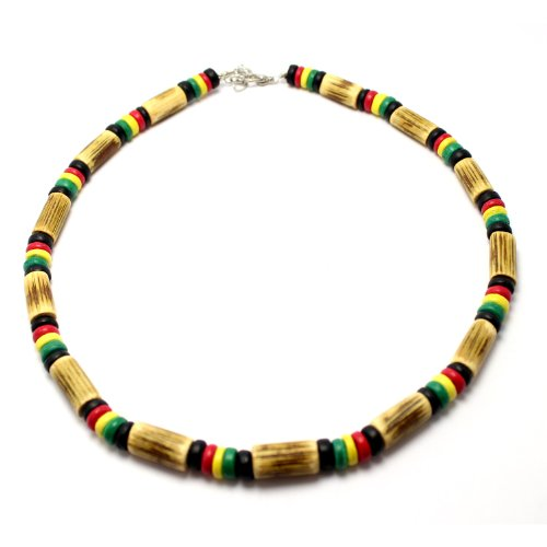 Sigid Tube and Coco Bead Rasta Necklace, Lobster Lock (18 IN)