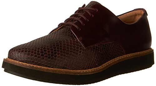 Clarks Womens Glick Darby Flat Aubergine Leather Combo