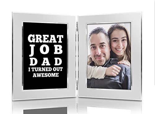 Great Job Dad I Turned Out Awesome 4x6 Funny Picture Frame Set - Premium Double Hinged Photo Frames - Gift for Dad, Husband, Grandpa, Men - Perfect Present for His Birthday, Father's Day, Christmas